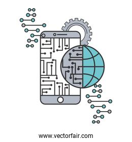 artificial intelligence smartphone circuit world connection