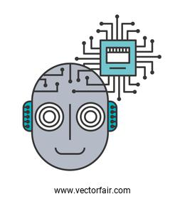 head of robot humanoid with microchip isolated icon