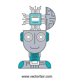 robot humanoid with microchip isolated icon