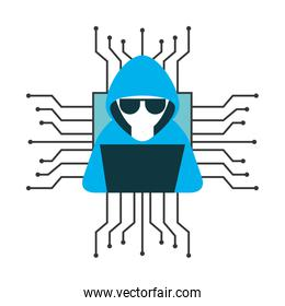 hacker with laptop computer isolated icon