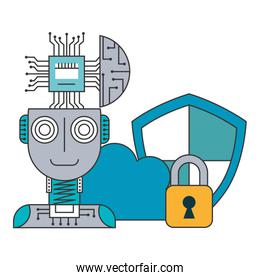 robot humanoid with microchip and set icons