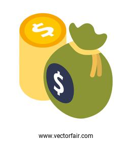 bag money with stack coins dollar isolated icon