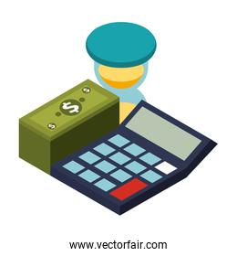calculator math with stack bill dollar and hourglass