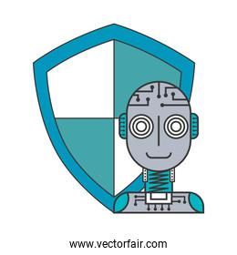robot humanoid with shield isolated icon