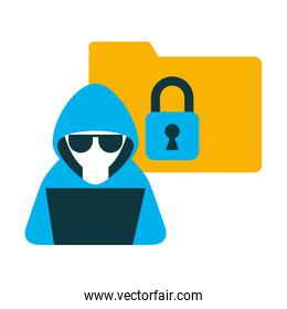 hacker with laptop and folder isolated icon