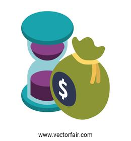 bag money with hourglass isolated icon