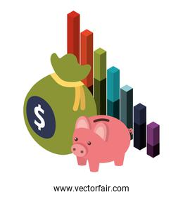 bag money with saving piggy and statistic graphic