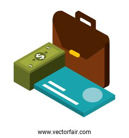 portfolio with credit card and stack bill dollar