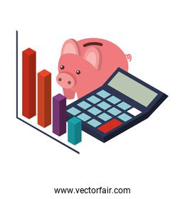 calculator math with saving piggy and statistic graphic