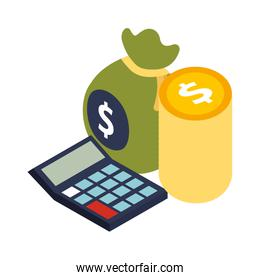calculator math with bag money and coins dollars