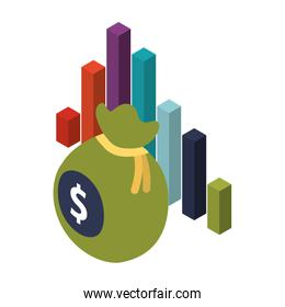 bag money with statistics graphic isolated icon