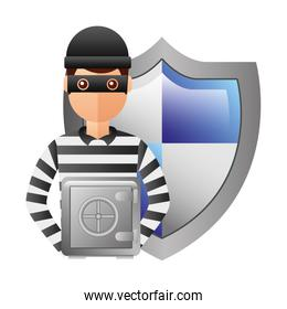 thief man with shield and box safety avatar character