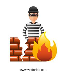 thief man with flame and broken wall