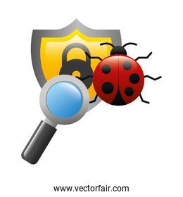 shield with virus atack and magnifying glass