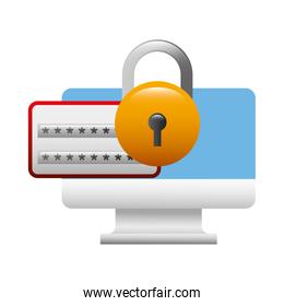computer monitor with padlock isolated icon