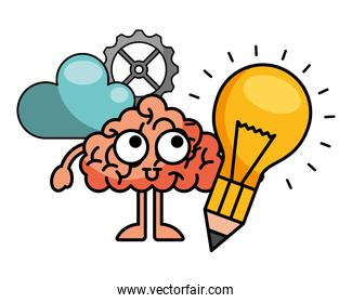 light bulb with brain and icons
