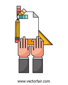 hand with metric ruler and icons