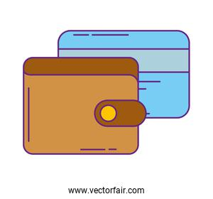 wallet money with credit card isolated design