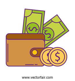 wallet with money isolated icon