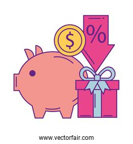 piggy savings with commercial icons