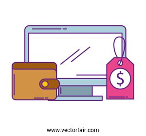 monitor computer with wallet money and label