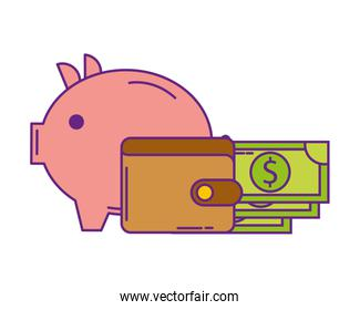 wallet money with saving piggy isolated icon