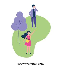 man using cellphone and woman in the park activities