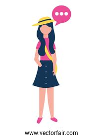 woman character standing with speech bubble