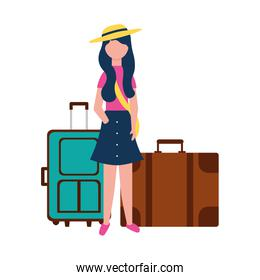young woman with two suitcases travel