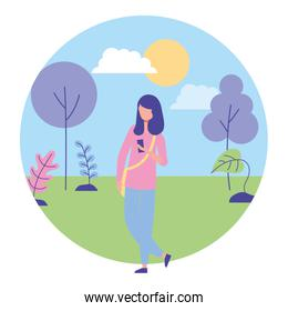 woman using cellphone in the landscape nature