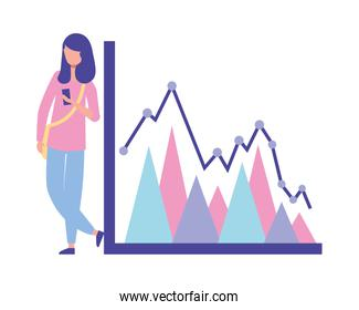 young woman using smartphone with statistics chart report