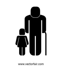 old man with girl figure silhouette