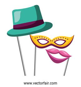 masquerade carnival festival hat mask mouth in sticks