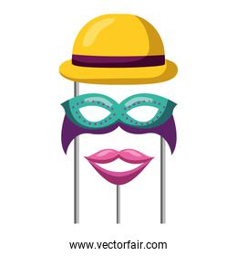 masquerade carnival festival bowler hat mask and mouth in sticks