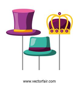 masquerade carnival festival top hat bowler and crown
