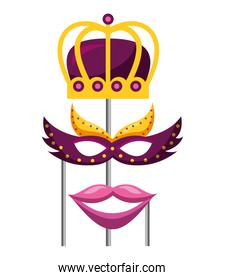 masquerade carnival festival crown mask and mouth in sticks