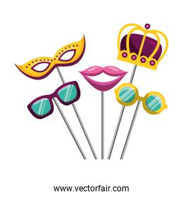 masquerade carnival festival mask crown glasses and mouth