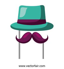 classic hat mustache carnival costume party