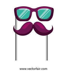 glasses and mustache carnival costume party