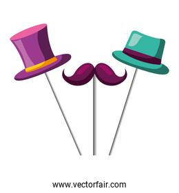 mustache top hat and bowler carnival costume party