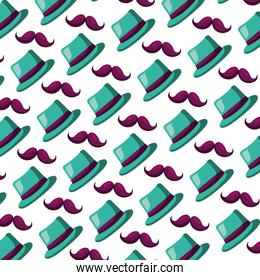 classic hat and mustache carnival party pattern