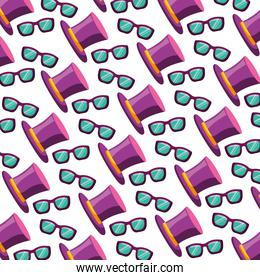 top hat and glasses fashion carnival party pattern