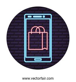 smartphone with bag shopping online