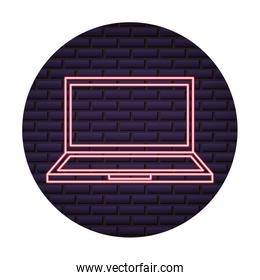 laptop computer of neon light