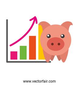 saving piggy with infographic isolated icon