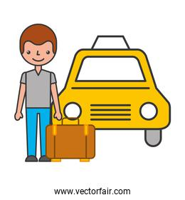 traveler with suitcase and taxi