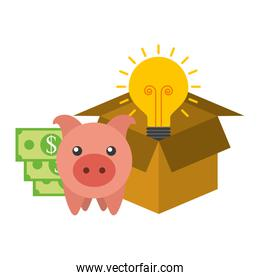 saving piggy with light bulb and icons