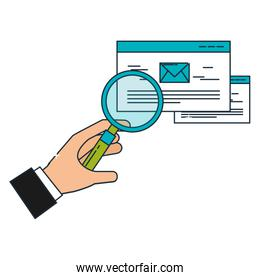 hand with magnifying glass email business