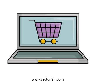 laptop computer with cart shopping online