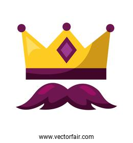 gold crown and mustache carnival costume party